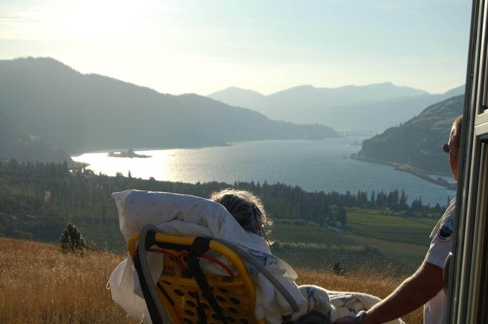 Nancy Russell visiting Columbia Gorge for the last time.